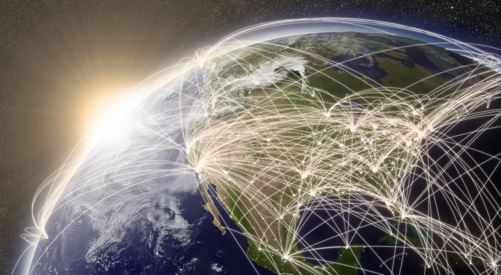 North America with network representing major air traffic routes. Elements of this image furnished by NASA.